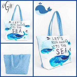 """Handbags - 🆕Whale Blue """"Let's Run Away To The Sea"""" Beach Bag"""